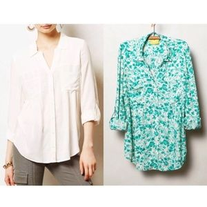 Anthropologie Maeve Teal Green Islet Buttondown